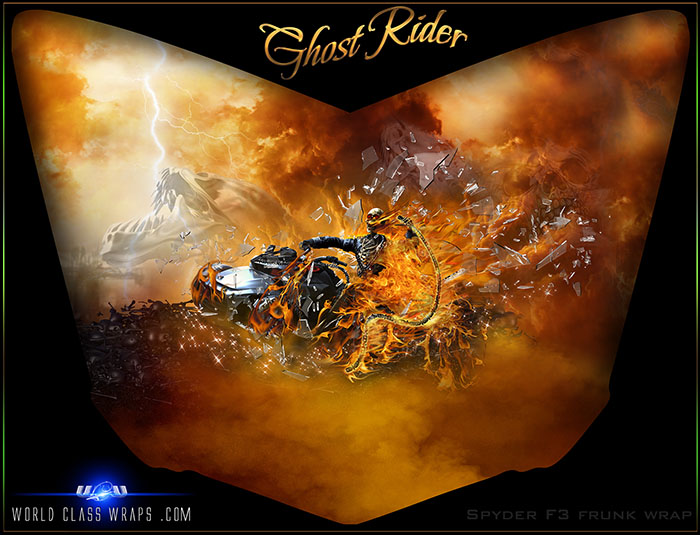 Spyder F3 Ghost Rider custom graphics wrap for frunk
