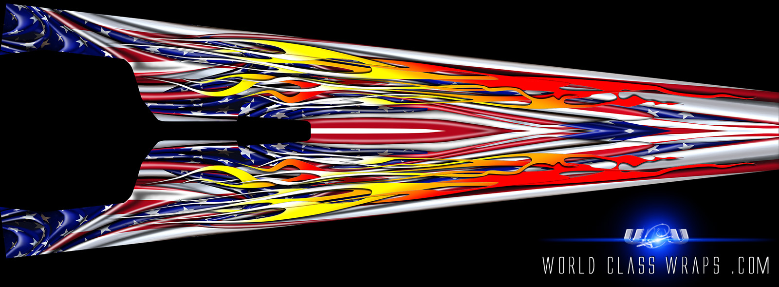 top view of the Americana dragster wrap